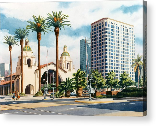 Santa Fe Acrylic Print featuring the painting Santa Fe Depot San Diego by Mary Helmreich
