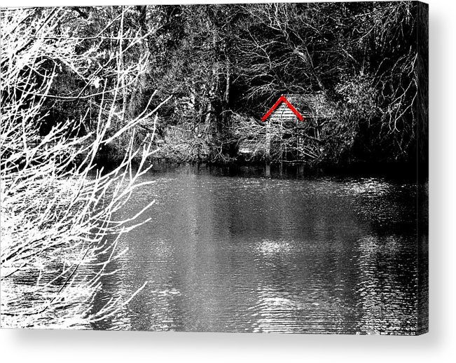Black Acrylic Print featuring the photograph Shed On The Lake by Christopher Rowlands