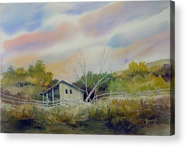 Shed Acrylic Print featuring the painting Shed With A Rail Fence by Sam Sidders