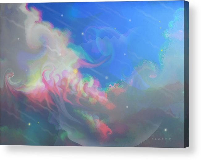 Fantasy Sky Acrylic Print featuring the digital art Shooting Stars On A Holiday Night by David Klaboe