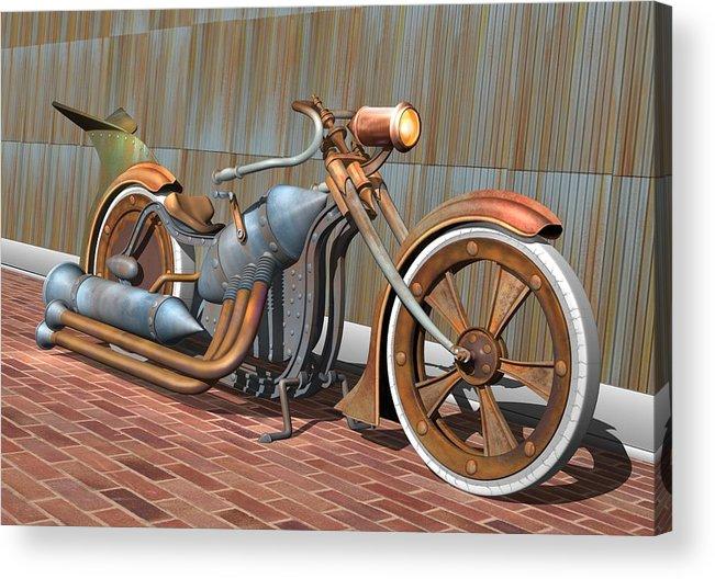 Steampunk Acrylic Print featuring the digital art Steam Chopper by Stuart Swartz