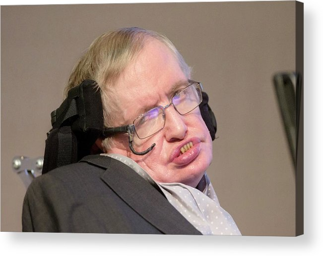 Stephen Hawking Acrylic Print featuring the photograph Stephen Hawking by Mark Thomas