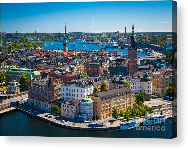 Architectural Acrylic Print featuring the photograph Stockholm From Above by Inge Johnsson
