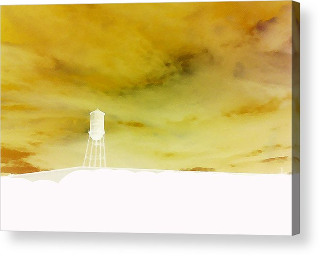 Water Tower Acrylic Print featuring the photograph Storm Up On The Hill by Max Mullins