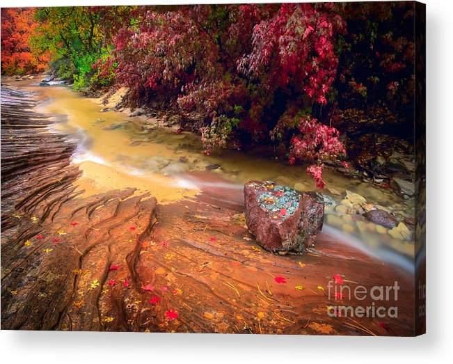 America Acrylic Print featuring the photograph Striated Creek by Inge Johnsson