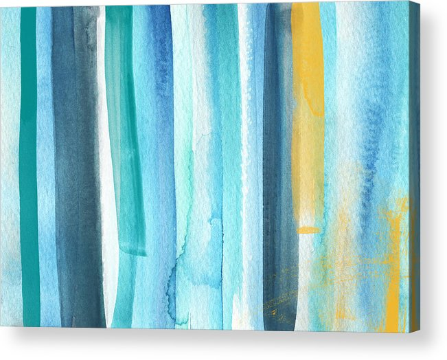 Water Acrylic Print featuring the painting Summer Surf- Abstract Painting by Linda Woods