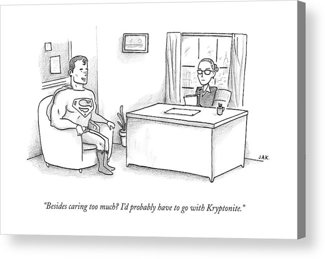 Job Interview Acrylic Print featuring the drawing Superman Sits At A Job Interview by Jason Adam Katzenstein