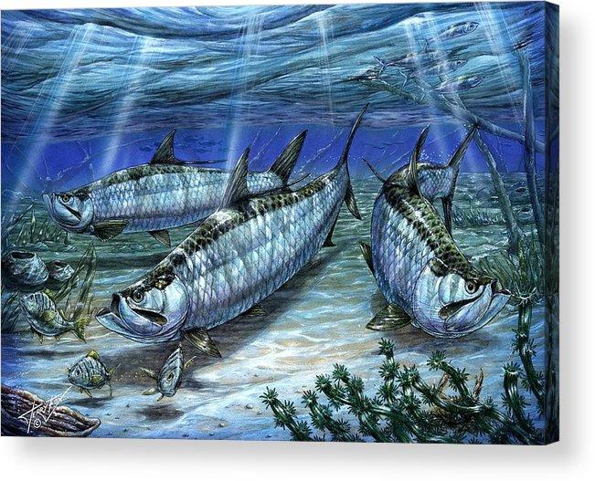 Tarpon Acrylic Print featuring the painting Tarpon In Paradise - Sabalo by Terry Fox