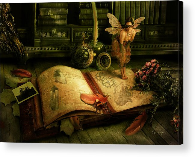 Fantasy Acrylic Print featuring the digital art The Journal by Cassiopeia Art