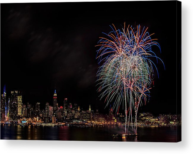 4th Of July Acrylic Print featuring the photograph The New York City Skyline Sparkles by Susan Candelario