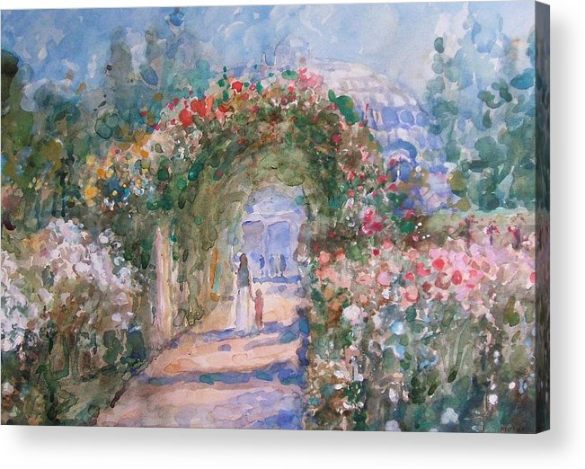 Garden Acrylic Print featuring the painting The Rose Garden by Malcolm Mason