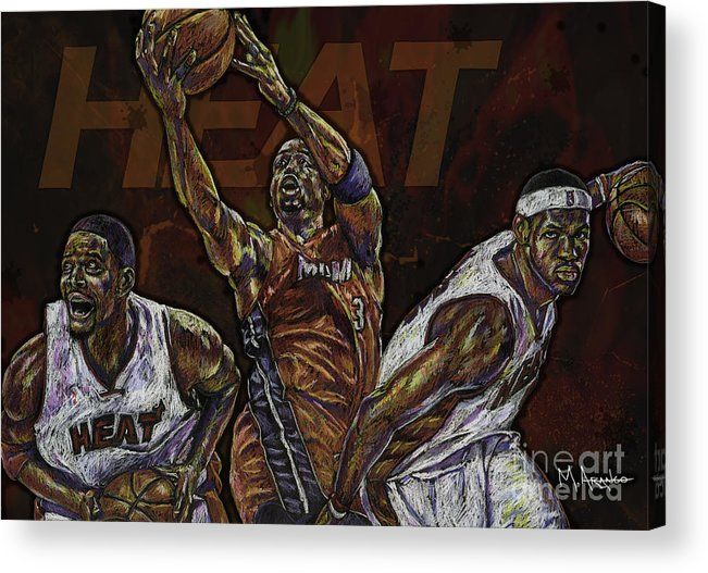 Chris Bosh Acrylic Print featuring the drawing Three Headed Monster by Maria Arango