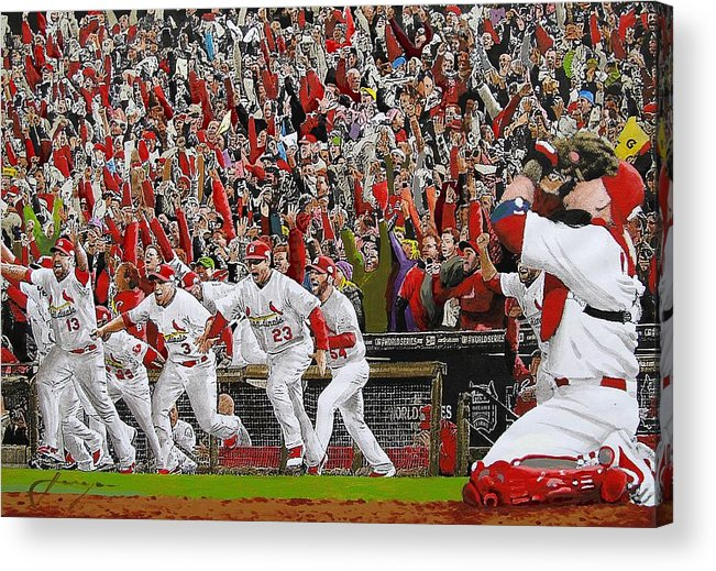 Baseball Acrylic Print featuring the painting Victory - St Louis Cardinals Win The World Series Title - Friday Oct 28th 2011 by Dan Haraga