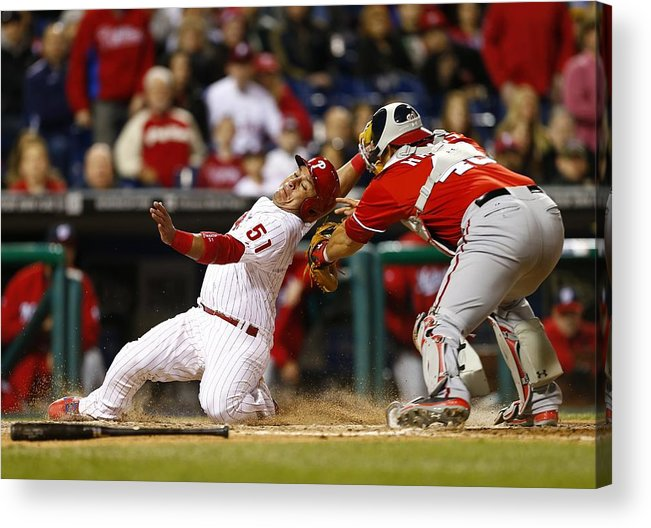 Baseball Catcher Acrylic Print featuring the photograph Washington Nationals V Philadelphia by Rich Schultz