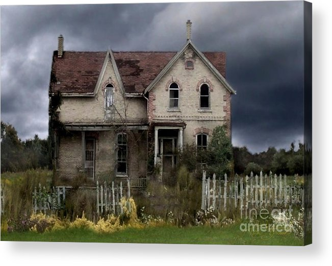 Haunted House Acrylic Print featuring the photograph White Picket Fence by Tom Straub