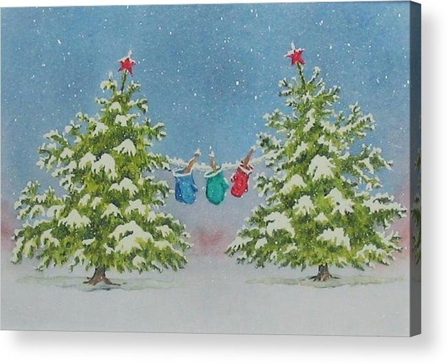 Fun Acrylic Print featuring the painting Winter Is Fun by Mary Ellen Mueller Legault