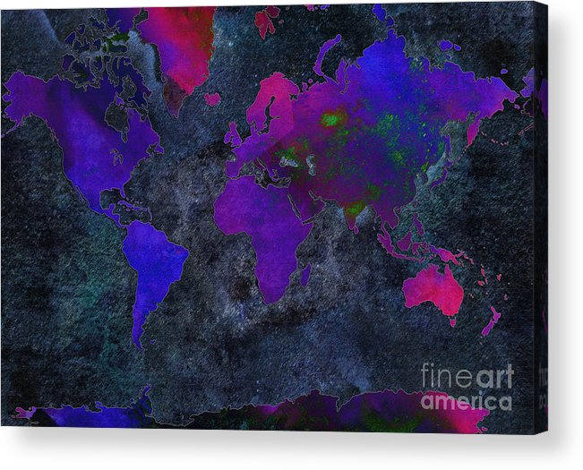 Andee Design Map Acrylic Print featuring the digital art World Map - Purple Flip The Dark Night - Abstract - Digital Painting 2 by Andee Design