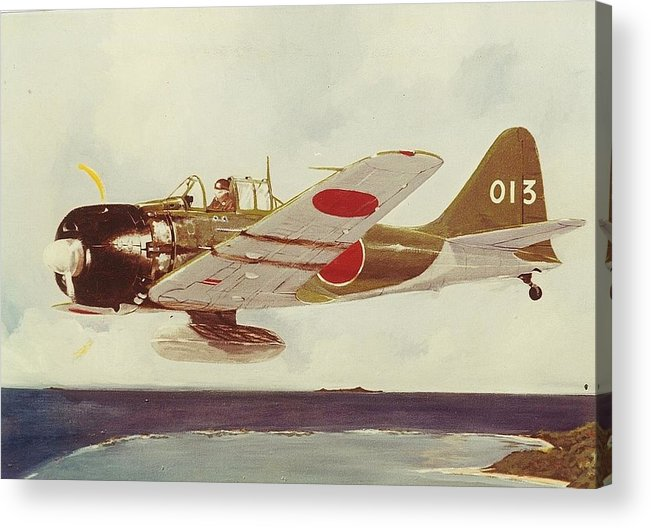 Ww2 Japanese Zero Fighter Acrylic Print featuring the painting Zero Fighter by Richard La Motte