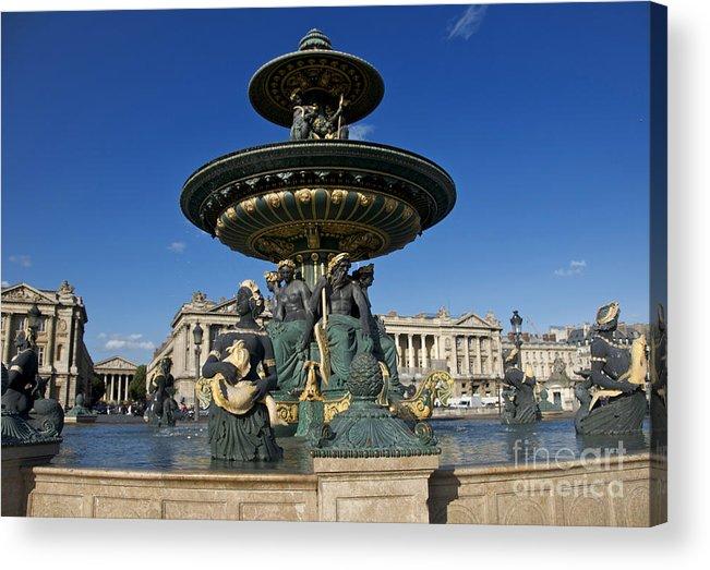 Paris Acrylic Print featuring the photograph Fountain At Place De La Concorde. Paris. France by Bernard Jaubert