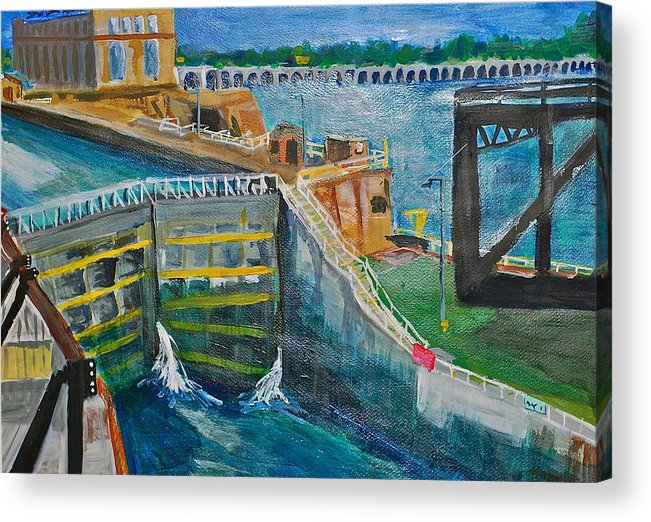 Dam Acrylic Print featuring the painting Lock And Dam 19 by Jame Hayes
