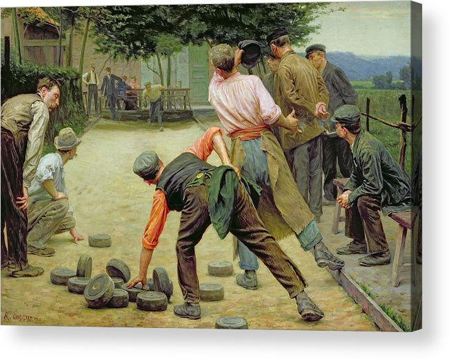 A Game Of Bourles In Flanders Acrylic Print featuring the painting A Game Of Bourles In Flanders by Remy Cogghe