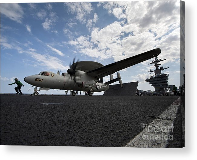 Motioning Acrylic Print featuring the photograph An E-2c Hawkeye Aircraft Prepares by Stocktrek Images