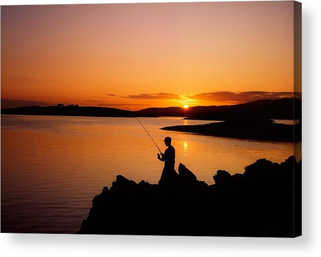 Activity Acrylic Print featuring the photograph Angler At Sunset, Roaring Water Bay, Co by The Irish Image Collection