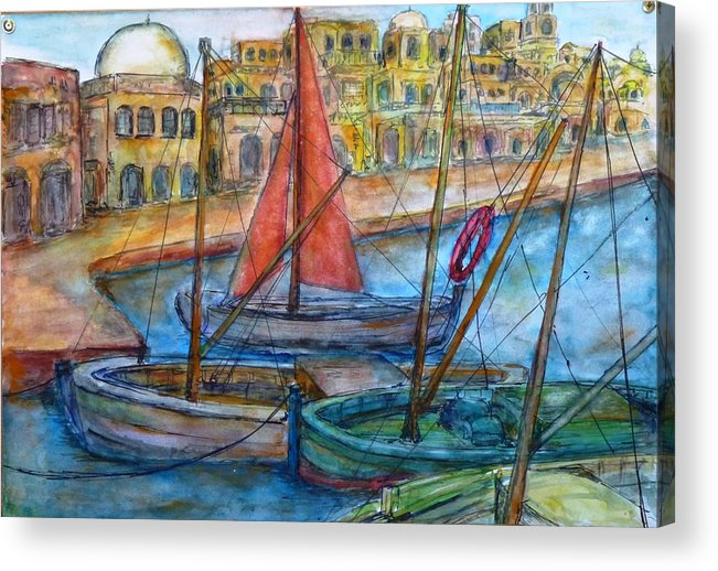 Acrylic Print featuring the painting Boats by Baruch Neria-Kandel