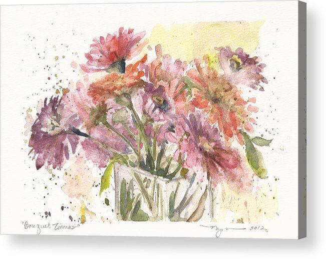 Zinnias Acrylic Print featuring the painting Bouquet Zinnias by Marilyn Madison