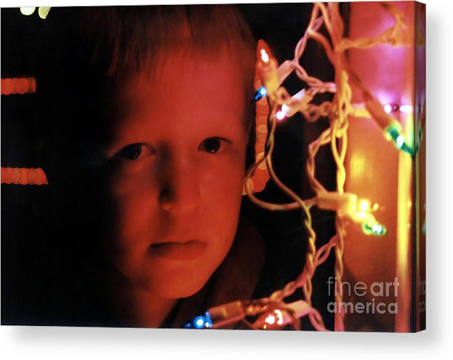 People Acrylic Print featuring the photograph By The Glow Of Christmas Lights by Susan Stevenson