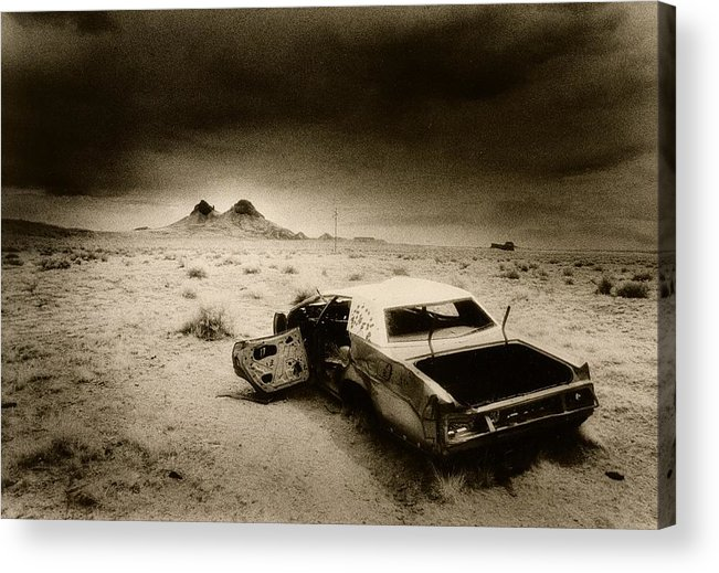 Car; Wreck; Abandoned; Lonely; Ghostly; Bullet Holes Acrylic Print featuring the photograph Desert Arizona Usa by Simon Marsden