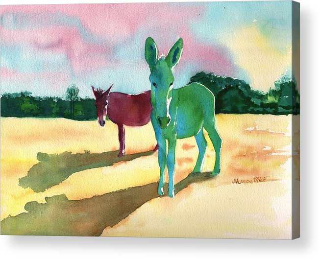 Donkeys With An Attitude Realistic Abstract Acrylic Print featuring the painting Donkeys With An Attitude by Sharon Mick
