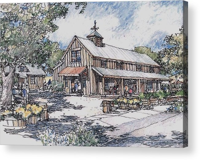 Market Country Architecture Food Sales Acrylic Print featuring the drawing Farm Stand by Andrew Drozdowicz
