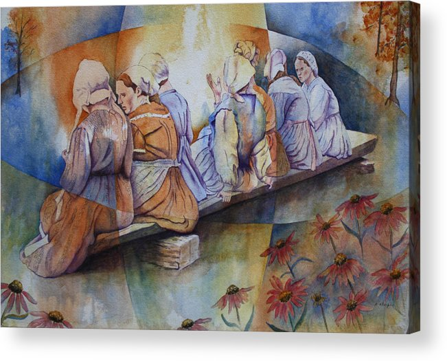 Costumed Figures In Landscape Acrylic Print featuring the painting Gossip Bench by Patsy Sharpe