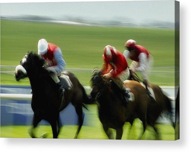 Track Acrylic Print featuring the photograph Horse Racing, Ireland Jockeys Racing by The Irish Image Collection