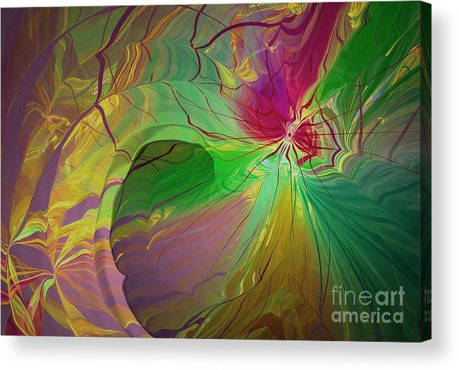 Abstract Acrylic Print featuring the digital art Multi Colored Rainbow by Deborah Benoit
