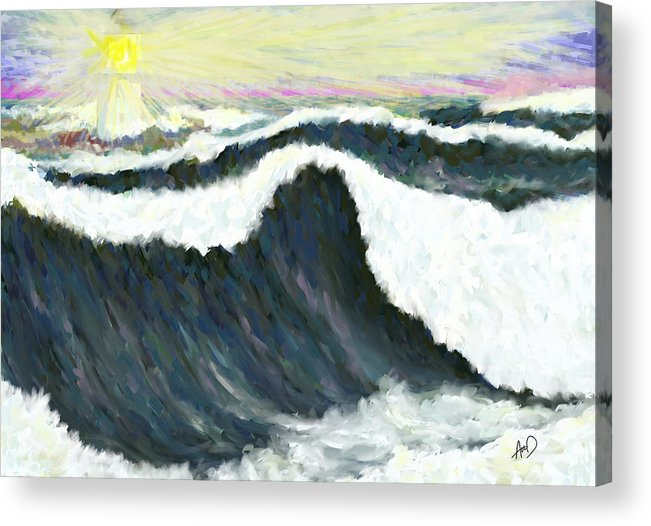 Seascape Acrylic Print featuring the painting Oh See The Light by Douglas Auld