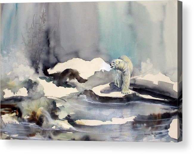 Polar Bear Acrylic Print featuring the painting On Thin Ice by Lynne Parker