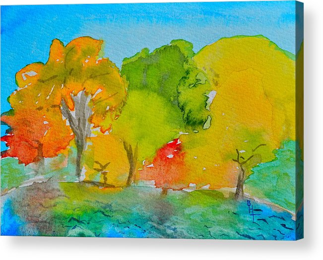 Park Acrylic Print featuring the painting Park Impression by Beverley Harper Tinsley