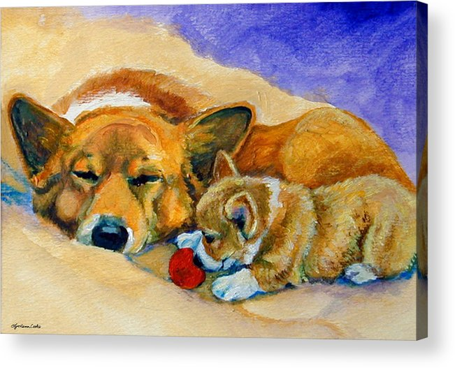 Pembroke Welsh Corgi Acrylic Print featuring the painting Playful Pup by Lyn Cook
