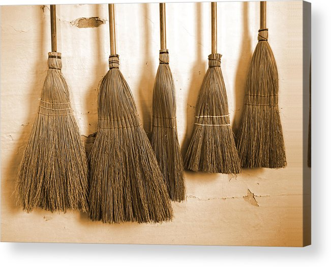 Broom Acrylic Print featuring the photograph Shaker Brooms On A Wall by Mark Sellers