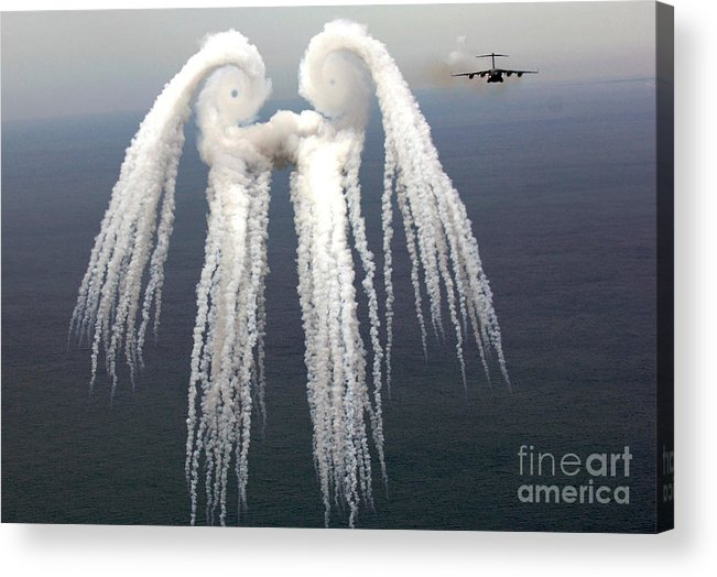 Airshow Acrylic Print featuring the photograph Smoke Angel Created By Wingtip Vortices by Photo Researchers