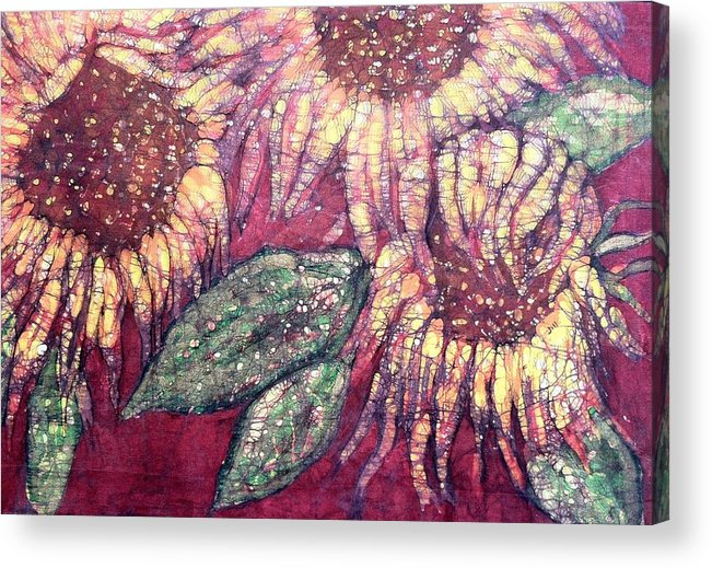 Sunflowers Acrylic Print featuring the painting Sunflowers At Sunset by Jill Tsikerdanos