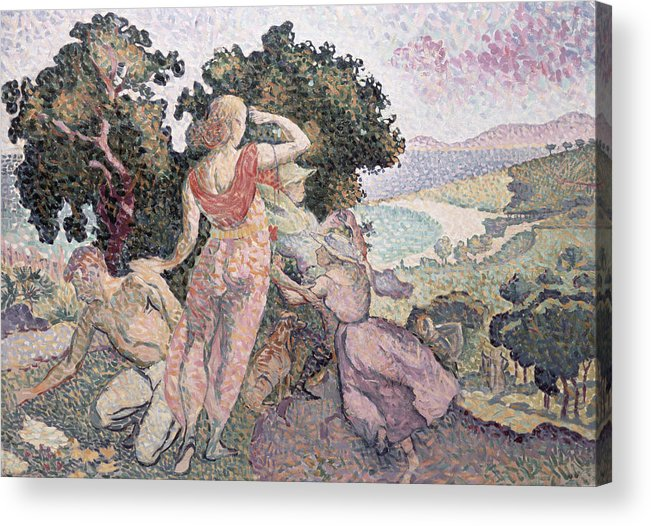 The Excursionists Acrylic Print featuring the painting The Excursionists by Henri-Edmond Cross