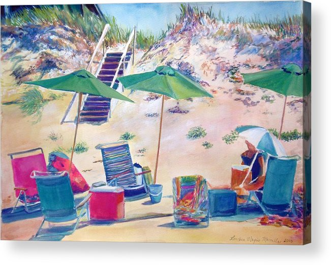 Beach Acrylic Print featuring the painting Umbrellas by Andrea Maglio-Macullar