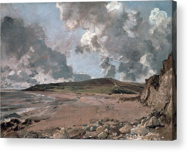 Furzy Cliff; Sand; Clouds; Cloud; Landscape; Rocky; Desolate; Barren; Romantic; Romanticism; Darkened; Storm; Stormy Acrylic Print featuring the painting Weymouth Bay With Jordan Hill by John Constable