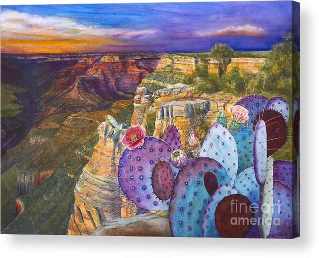 Canyon Acrylic Print featuring the painting South Rim Wonders by Jany Schindler