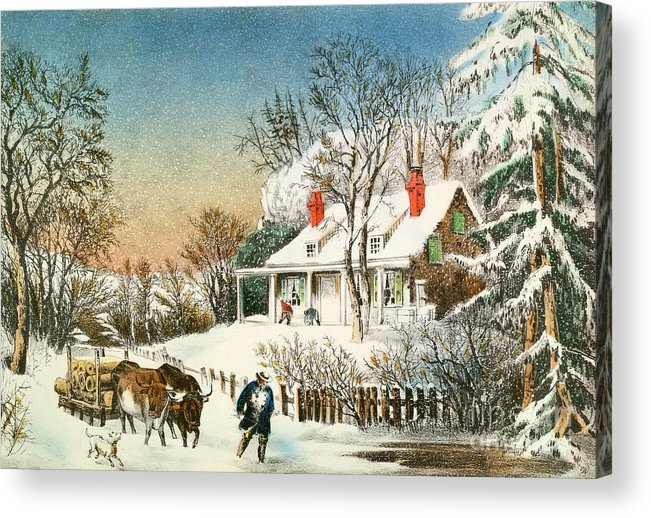 Bringing Acrylic Print featuring the painting Bringing Home The Logs by Currier and Ives