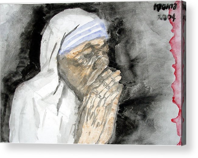 Mother Teresa Acrylic Print featuring the painting Miracle Mother by Rooma Mehra