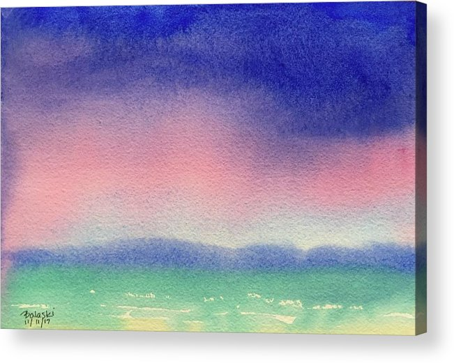 Watercolor Landscape Seascape Ocean Rain Clouds Puffy Full Saturated Deluge Pouring Mountains Distant Rough Ocean Waves Sea Caps Dense Wet Purples Pinks Blues Greens Acrylic Print featuring the painting Rain by Belinda Balaski